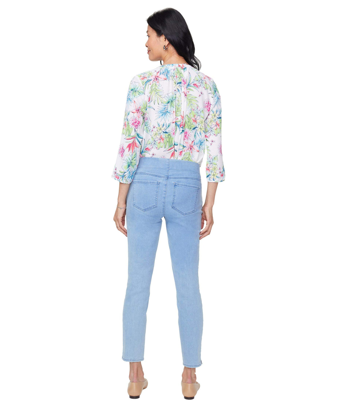 Petite Pull-On Skinny Ankle Jeans with Side Slits in Belle Isle