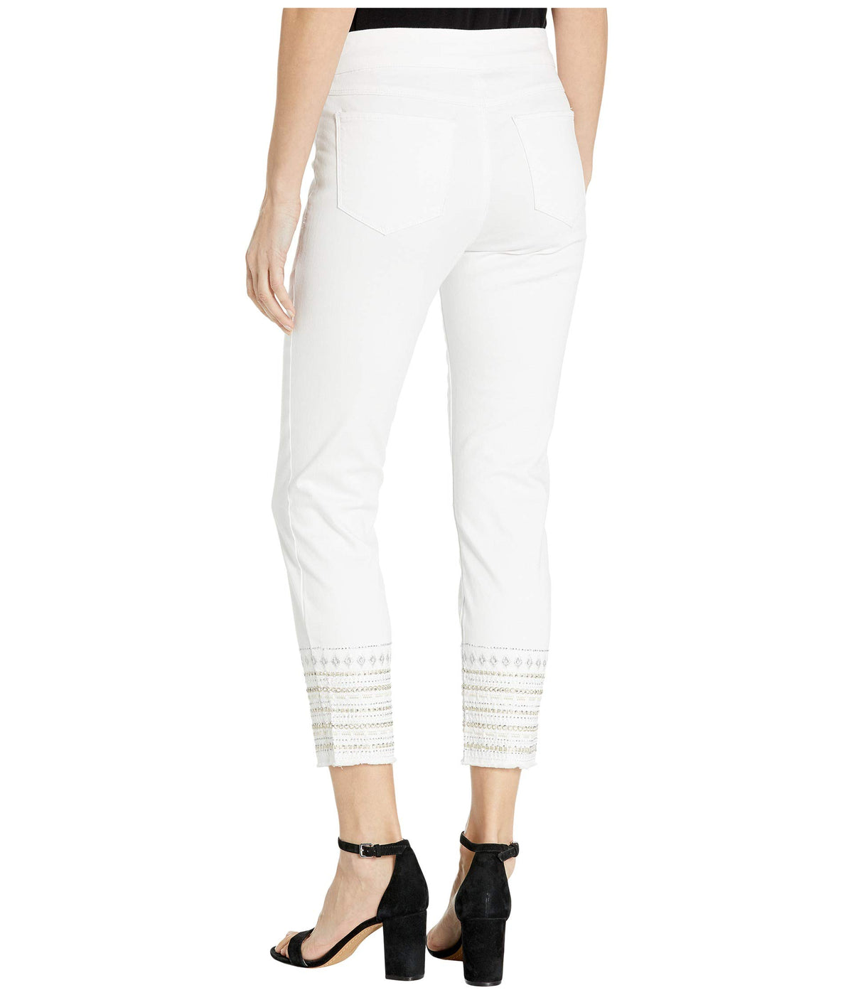 Pull-On Ankle Jeggings w/ Embroidery at Hem in White