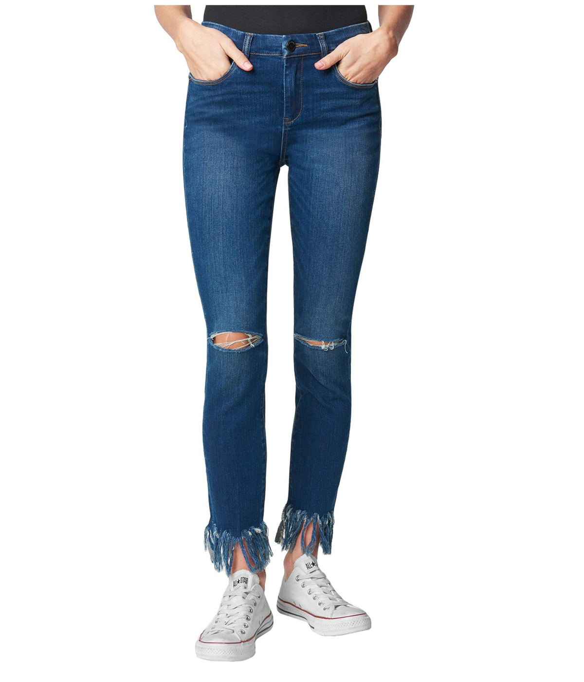 Denim Skinny with Fringe Hem Detail in Over Packed