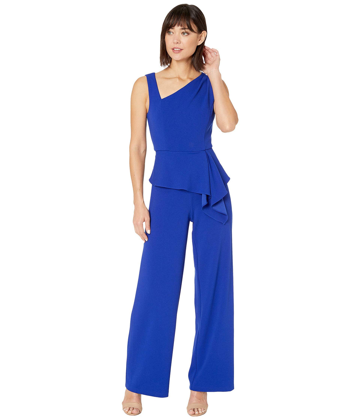 Asymmetrical Jumpsuit with Charmuese Bodice