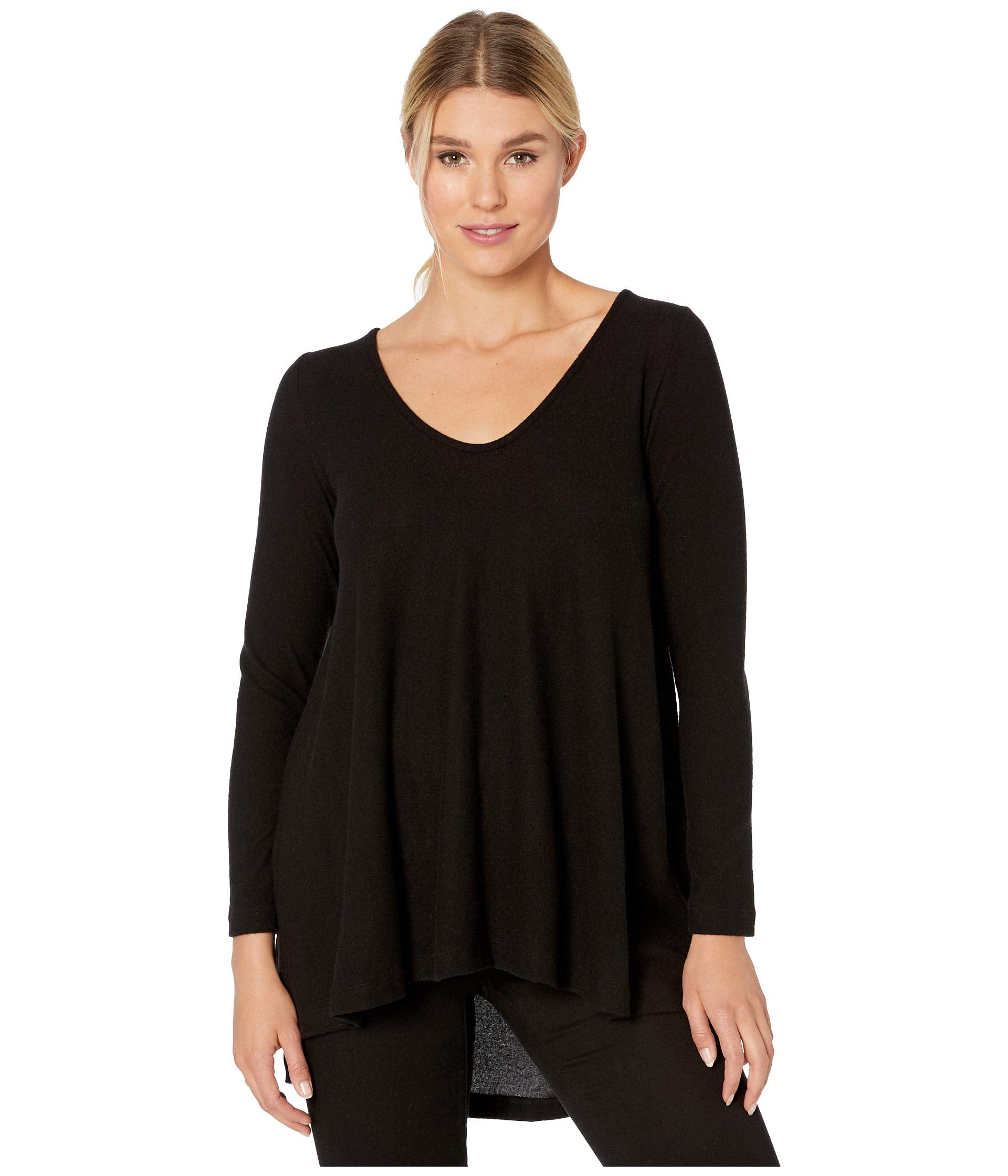 Rounded Vneck Tunic with Shirred Back