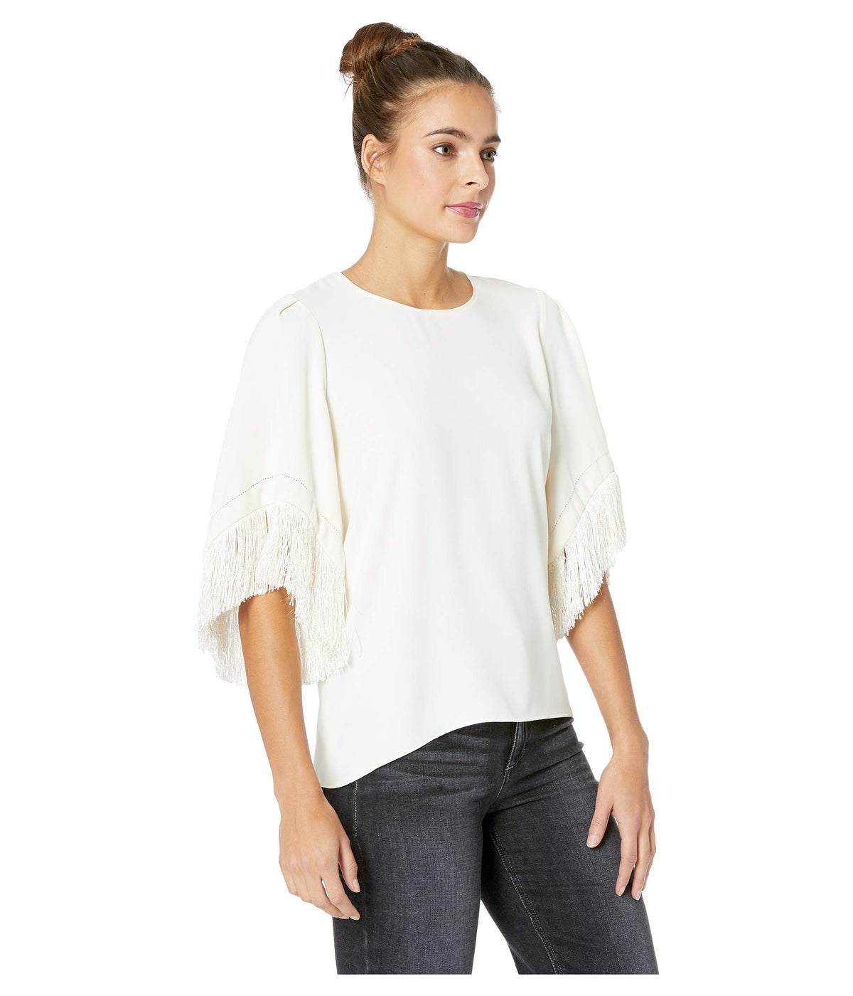 Short Fringe Sleeve Round Neck Top