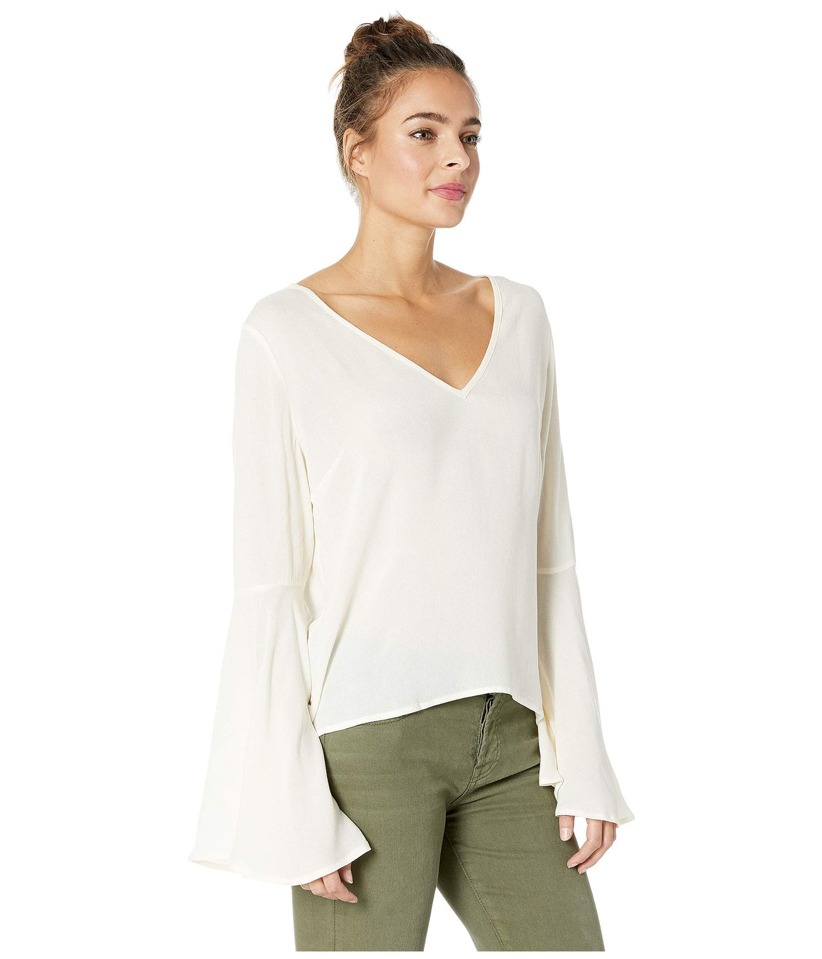 Talk To The Sleeve Rayon Crepe Bell Sleeve Top