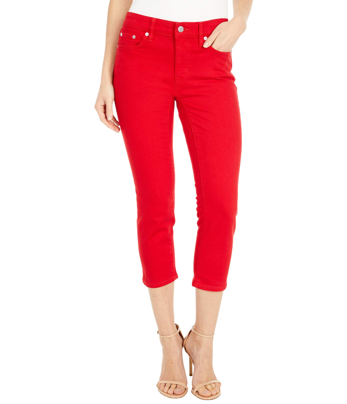Petite Premier Straight Crop Jeans in Bold Red Wash