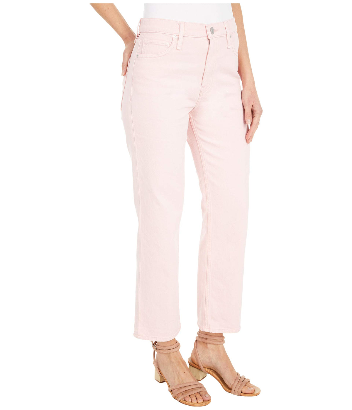 Remi High-Rise Straight Croppd in Soft Pink