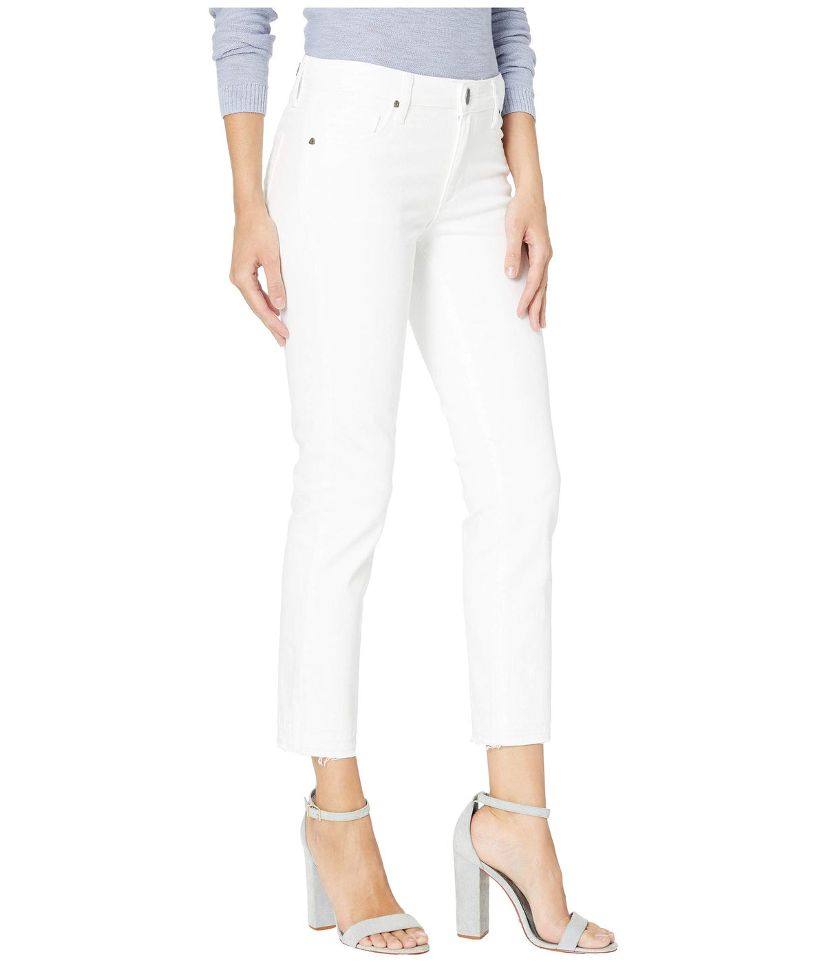 Reese Ankle Straight Leg Jeans w/ Release Hem in Optic White