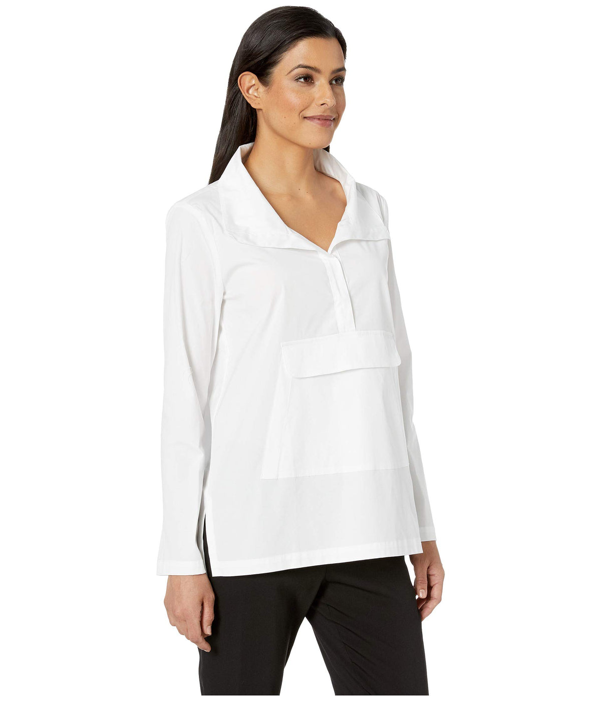 Pull-On Shirt with Kangaroo Pocket and Snap Detail