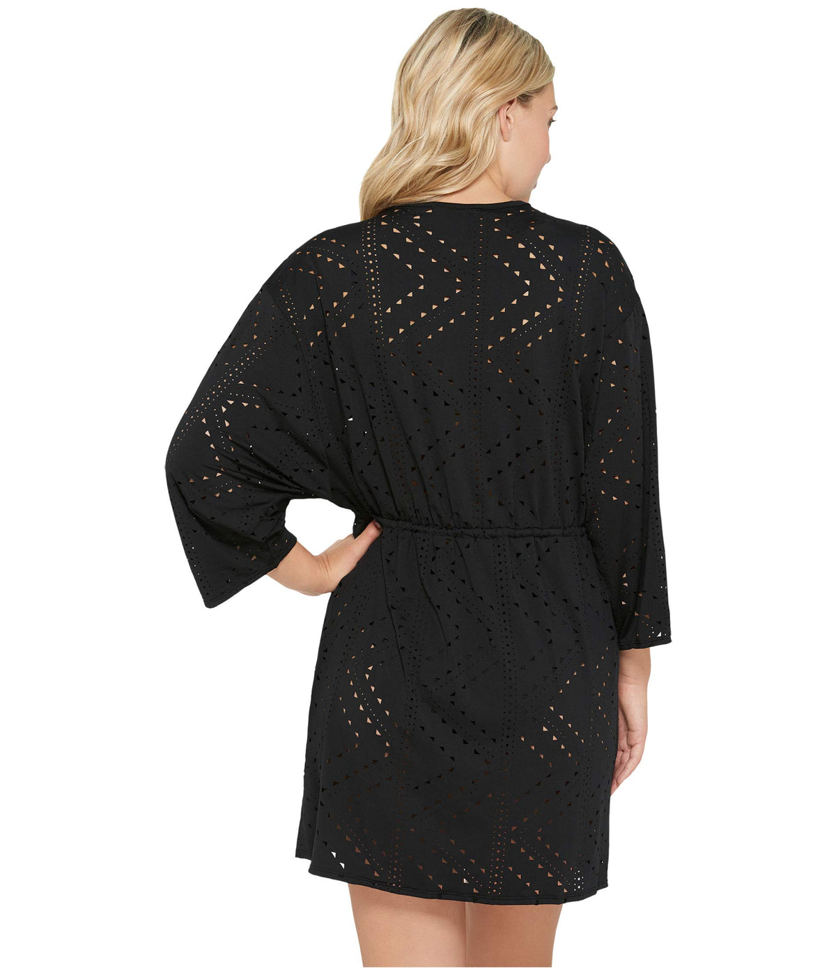 Mayan Diamond Laser Cut Drawcord Waist Tunic Cover-Up