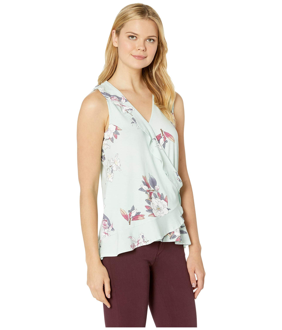 Printed Jersey Sleeveless Frill Top