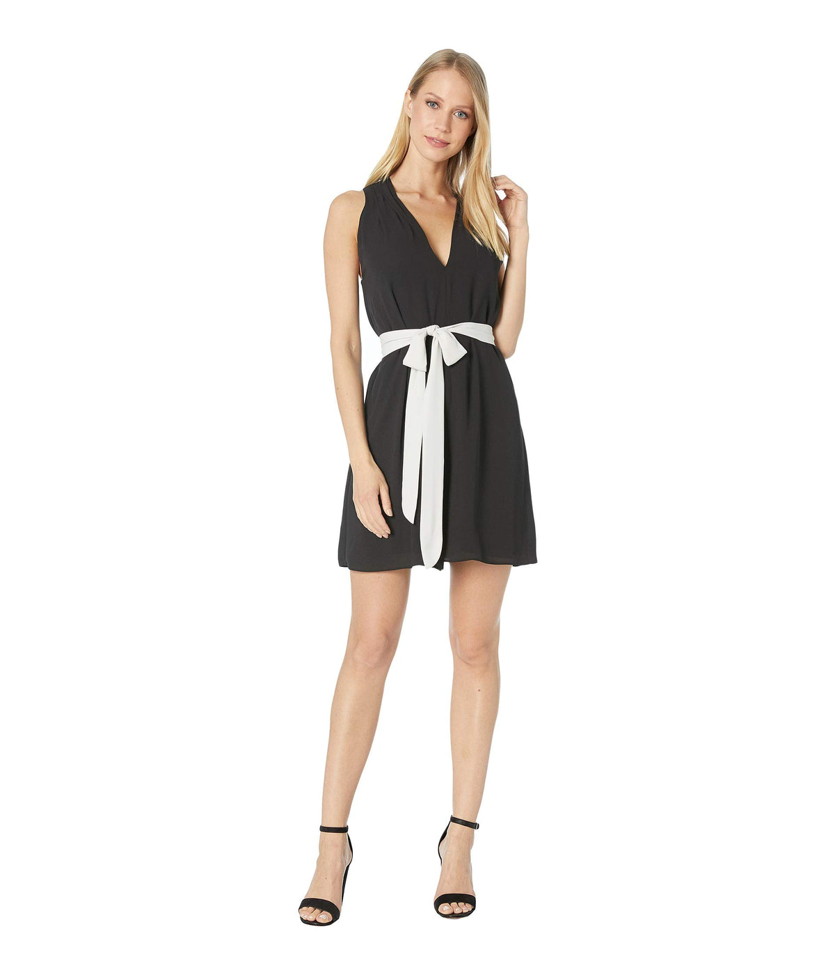 Sleeveless V-Neck Romper with Waist Sash