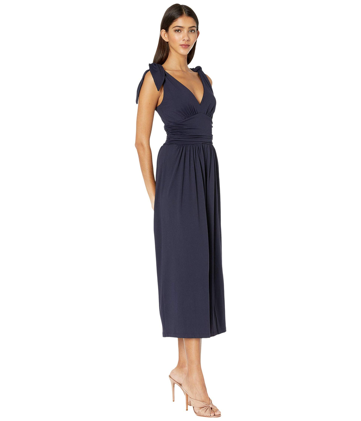 Tie Shoulder Ruched Jumpsuit