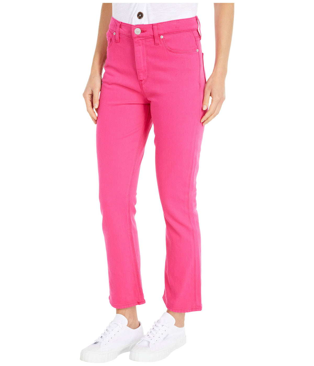 Holly High-Rise Crop Bootcut Jeans in Hibiscus