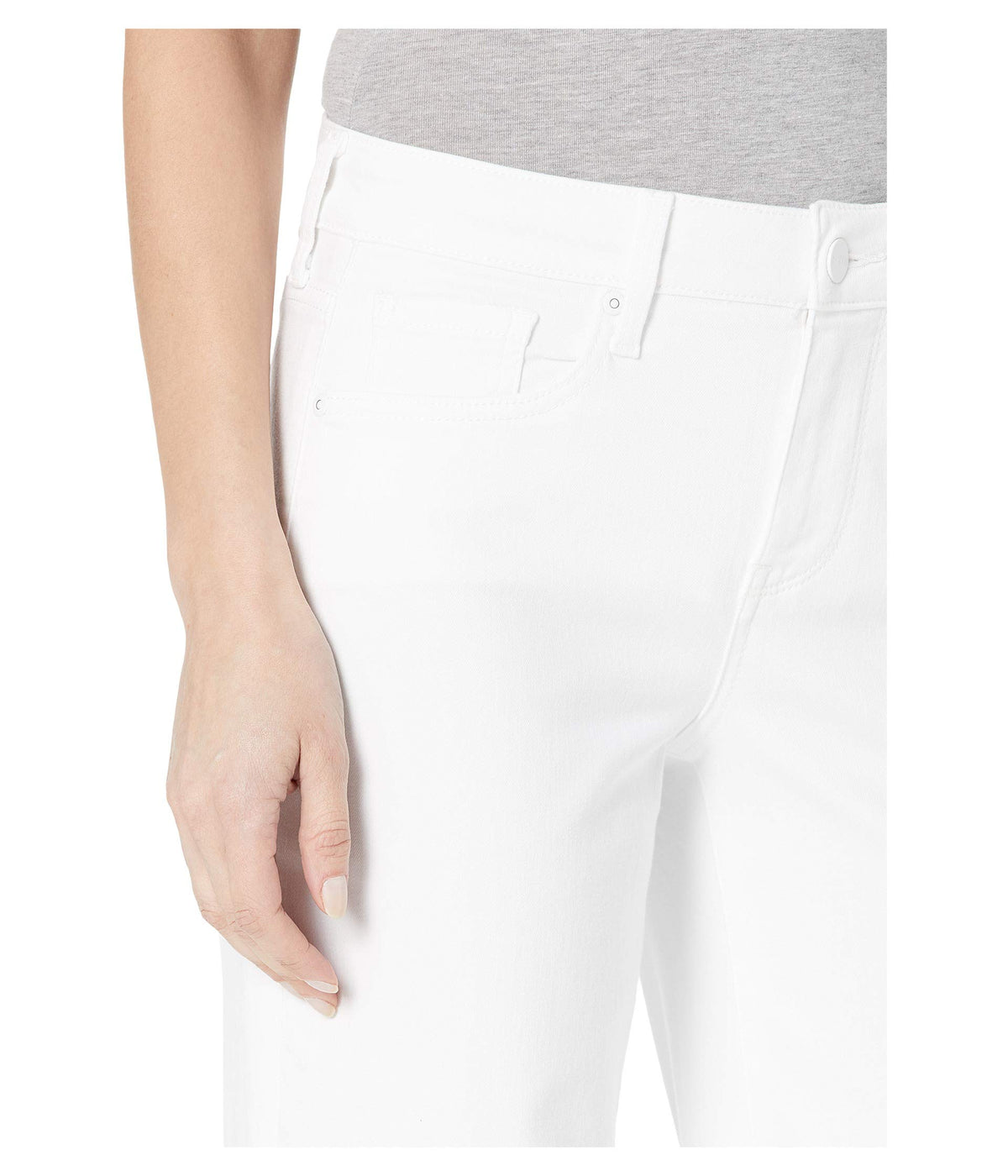 Teresa Trouser Jeans with Frayed Hem in Optic White