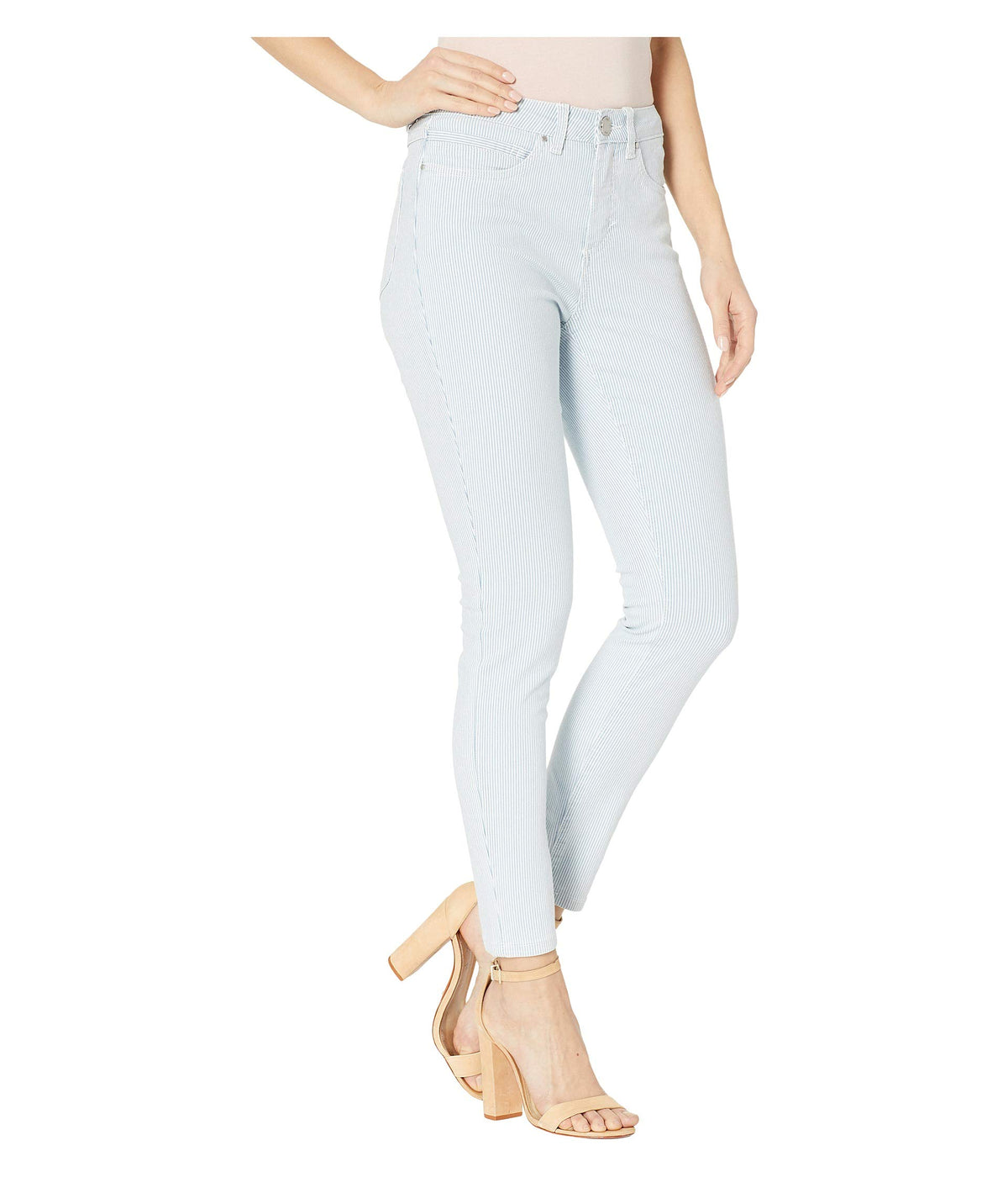 Stripe Denim Olivia Slim Ankle in Chambray