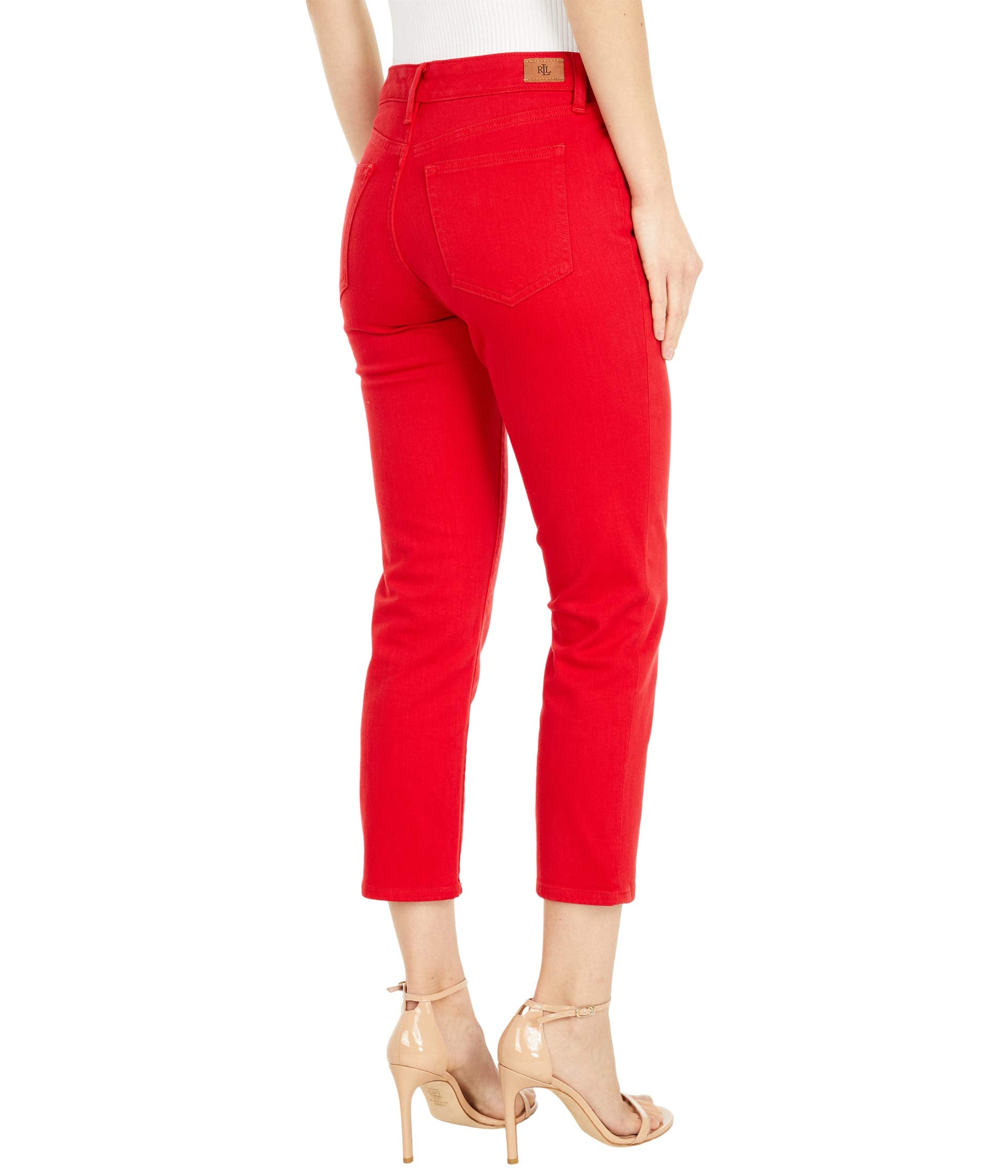 Premier Straight Crop Jeans in Bold Red Wash