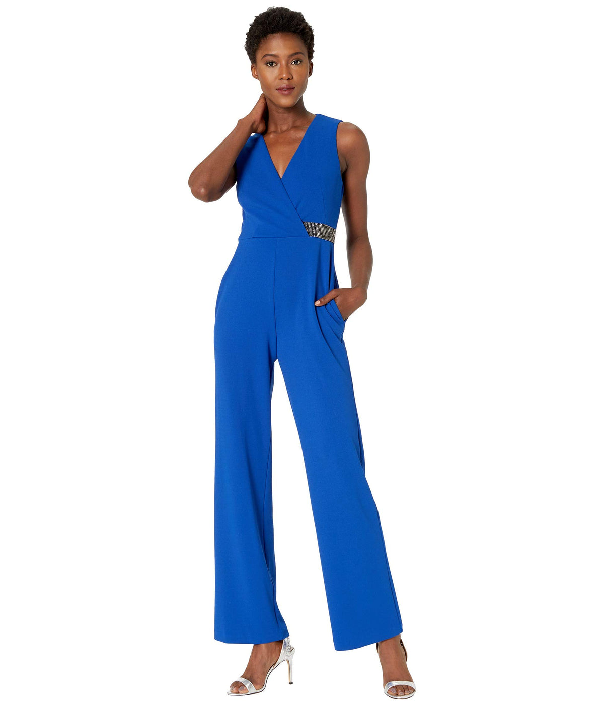 Stretch Crepe Sleeveless Faux Wrap with Crystal Detail Jumpsuit