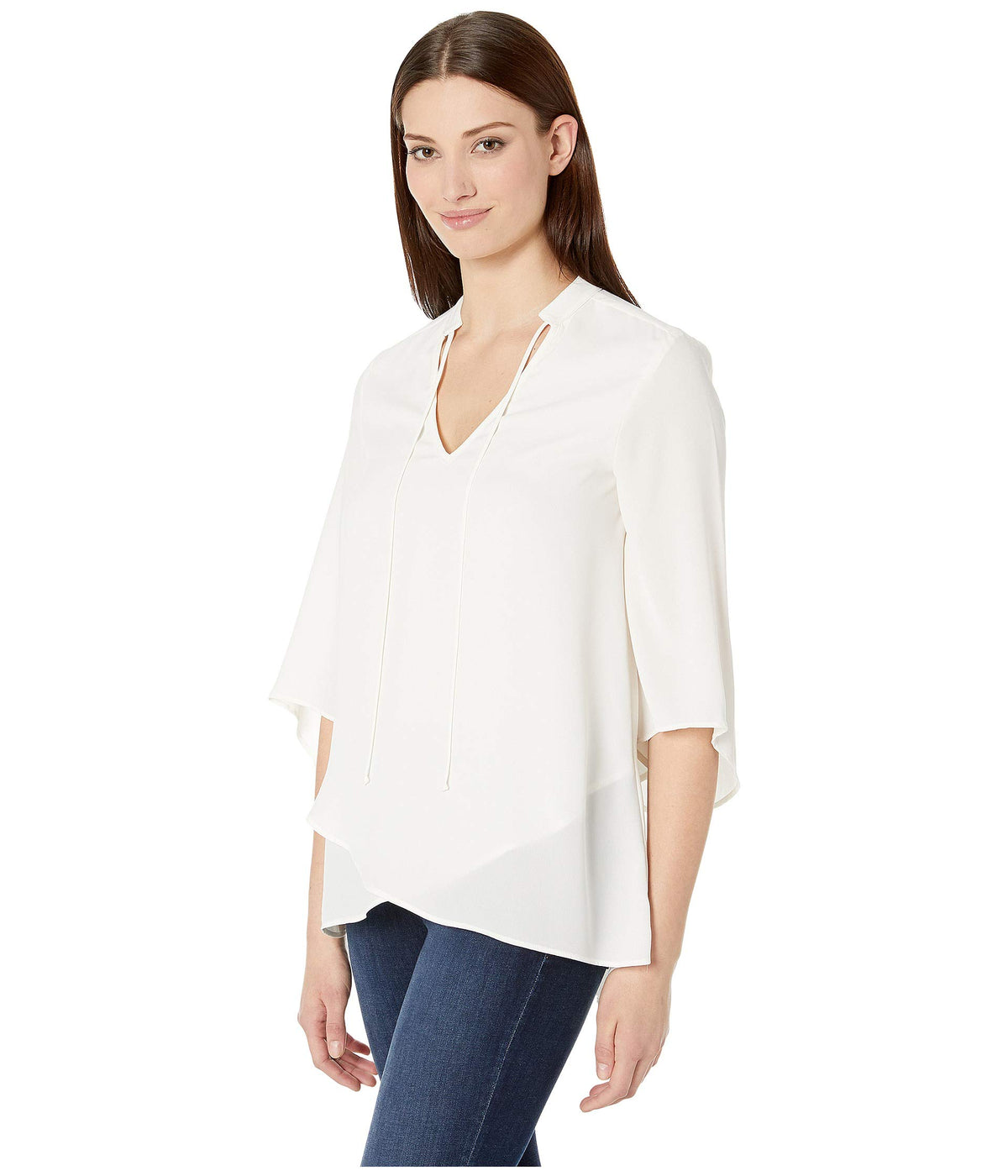 Mandarin Collar Crossover Top