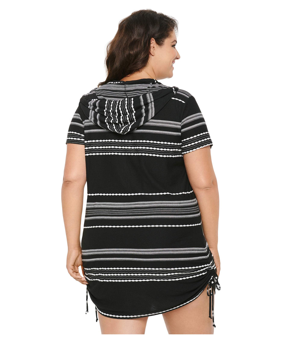 Plus Size Stripe Zip Front Hoodie Dress Cover-Up