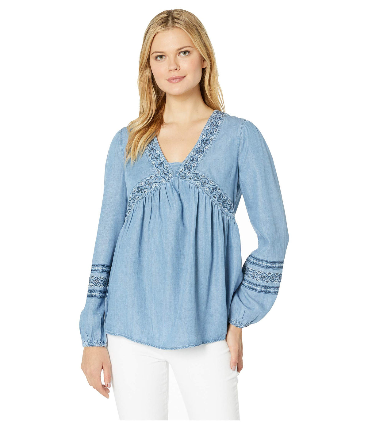 Long Sleeve V-Neck Embroidered Peasant Top