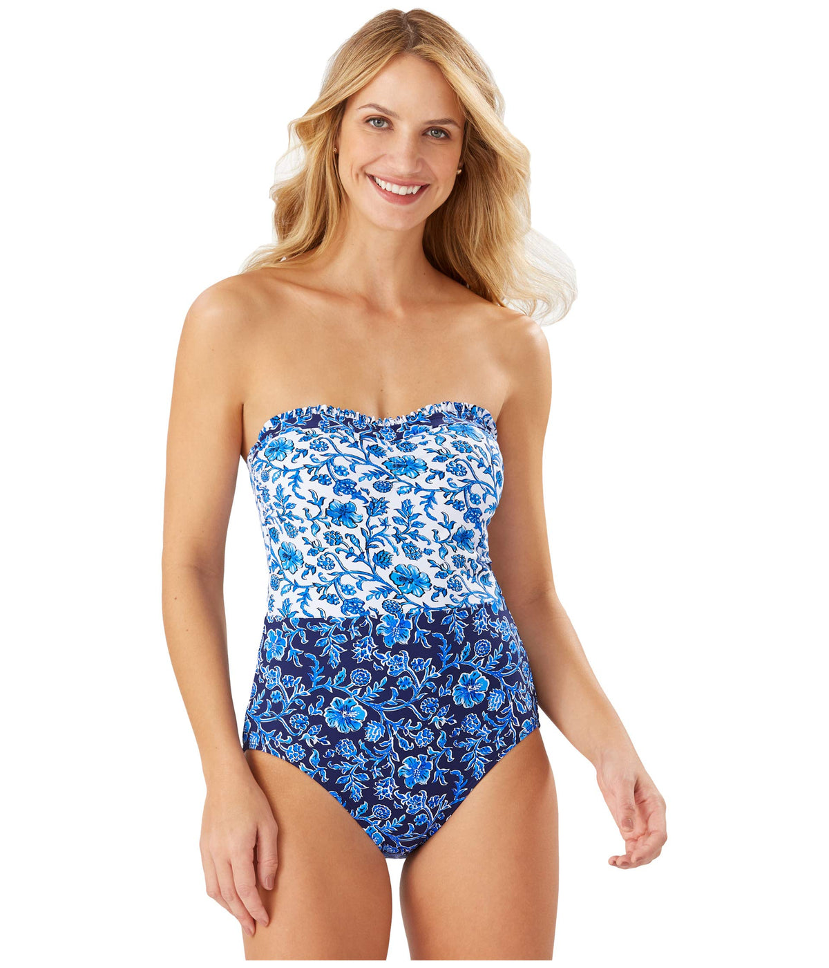 Woodblock Ruffled Bandeau One-Piece