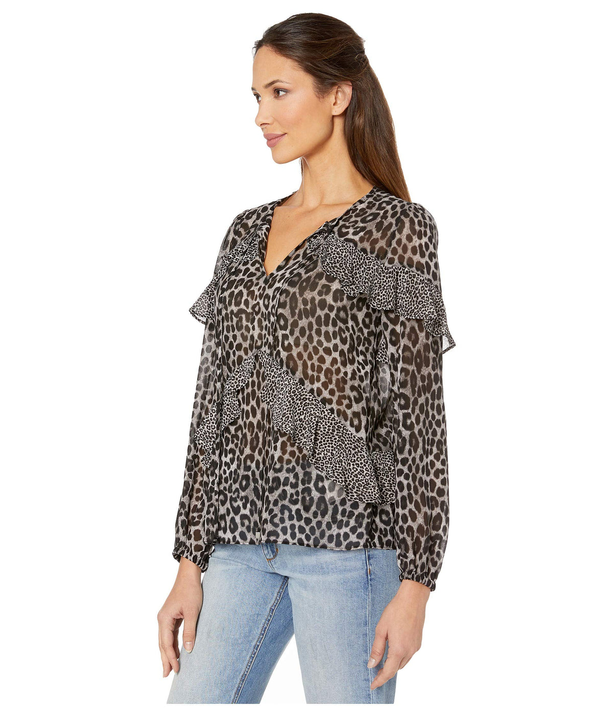 Cheetah Mix Flounce Top
