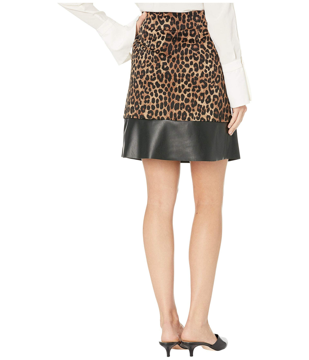 Cheetah Leather Mini Skirt