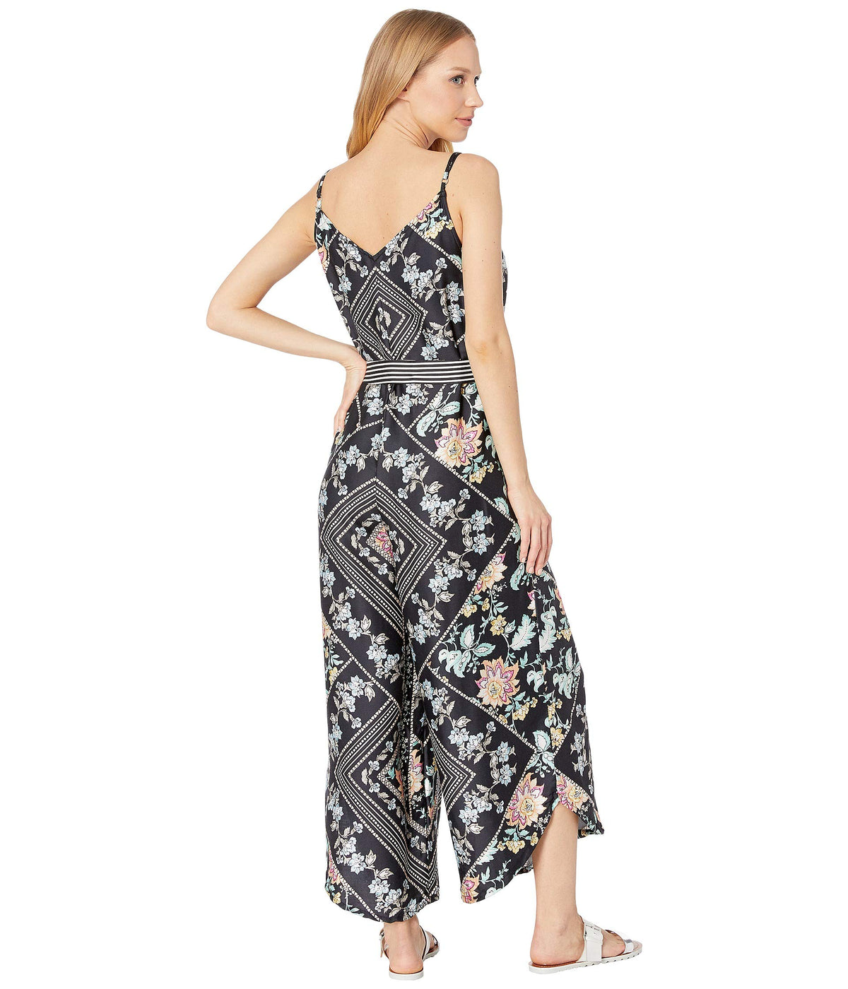 Diamond Vines Jumpsuit Cover-Up with Removable Belt