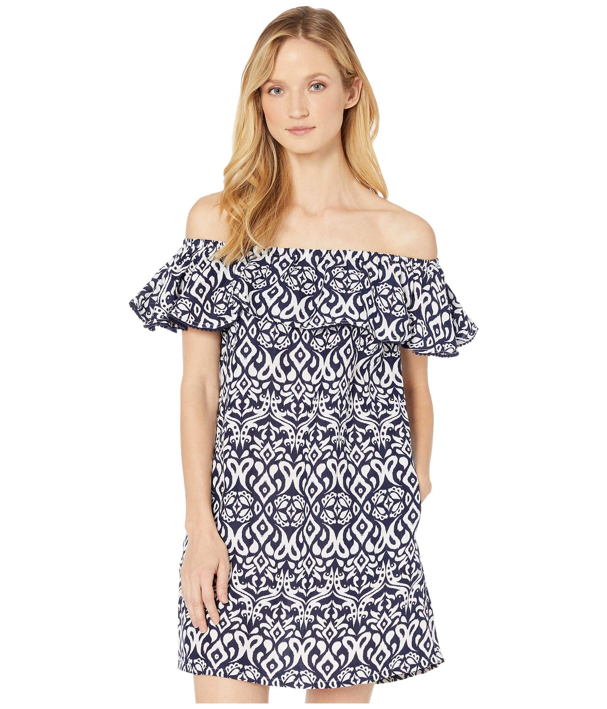 Ikat Diamonds Ruffle Dress Cover-Up
