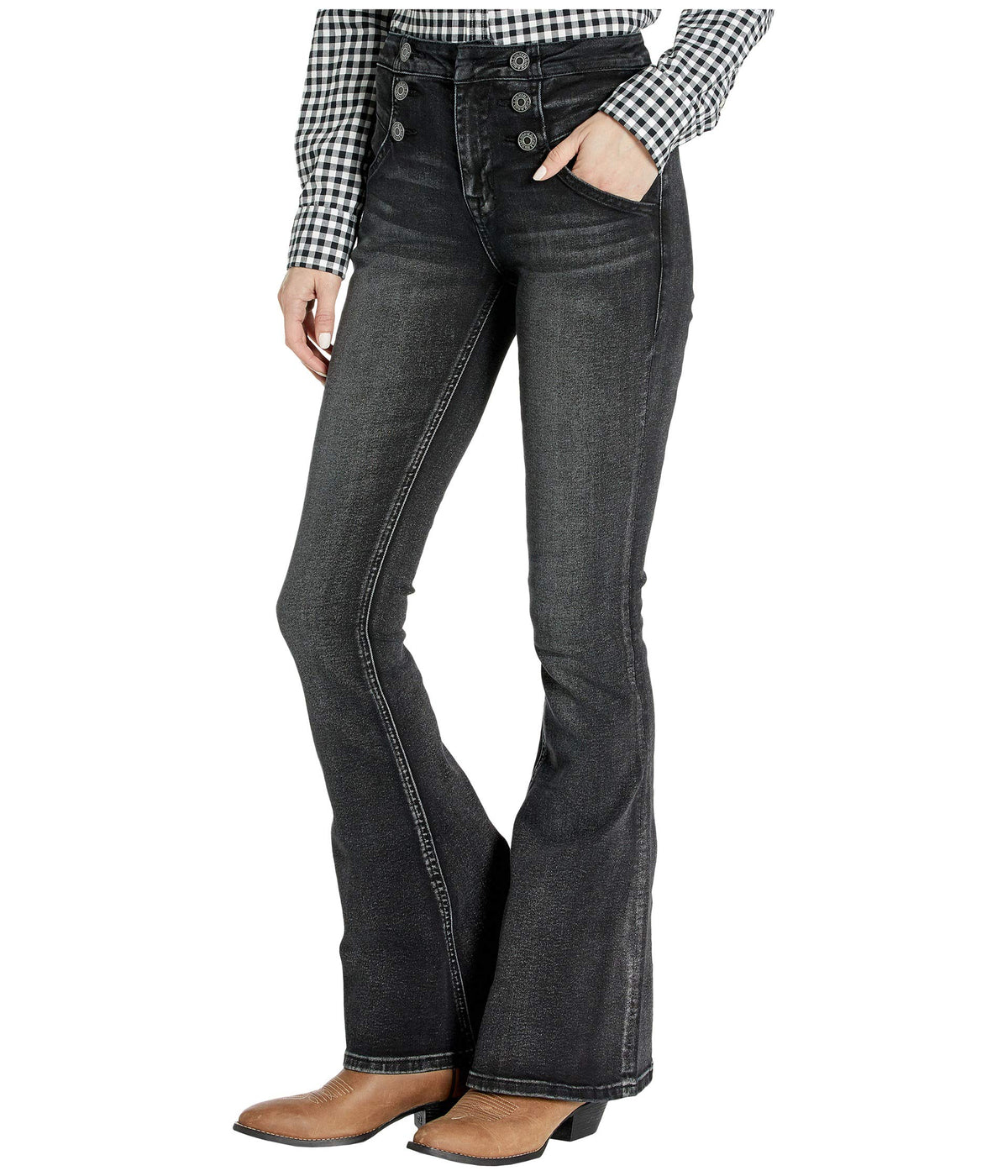 High-Rise Flare in Charcoal WHN4145