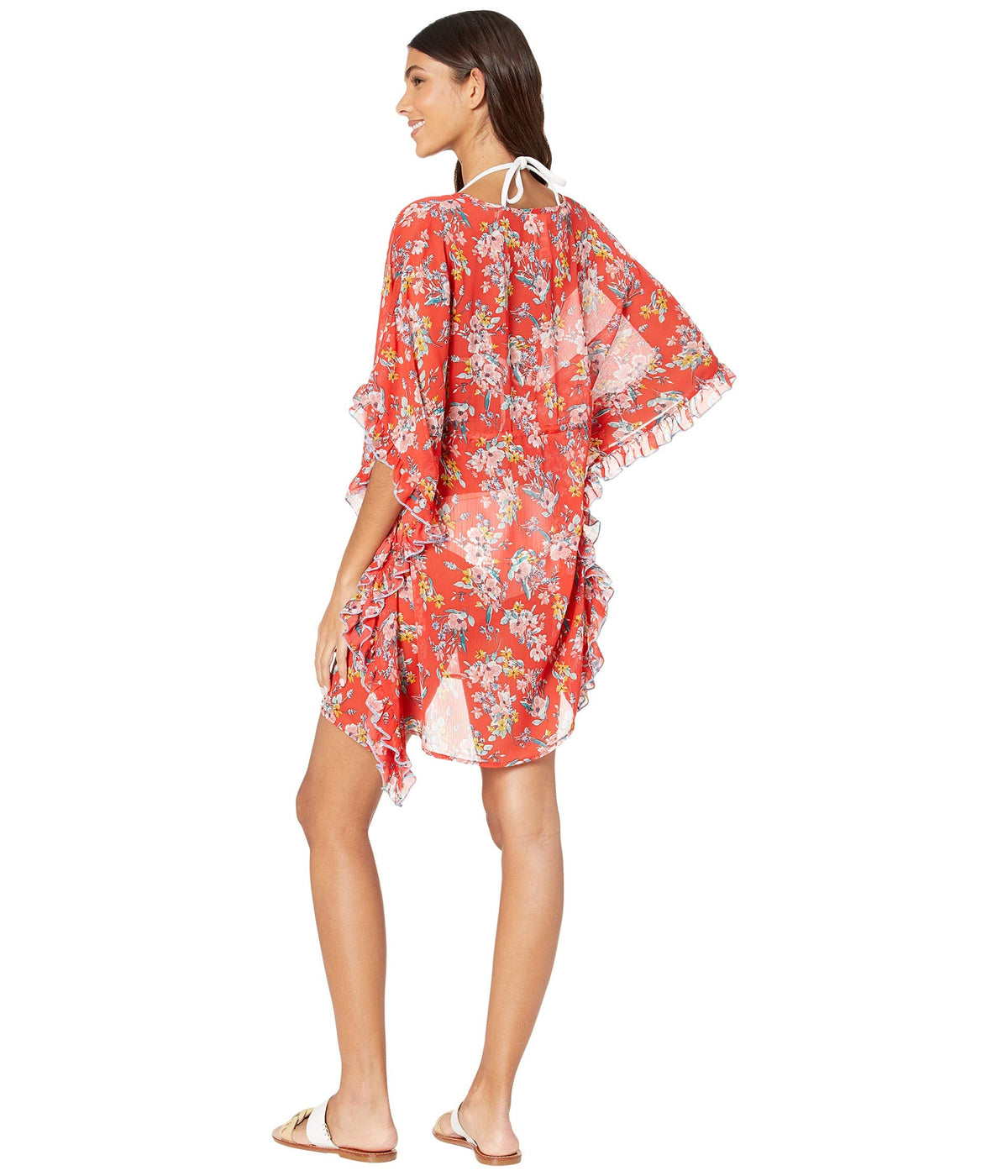 Chantilly Lace Frill Side Chiffon Cover-Up