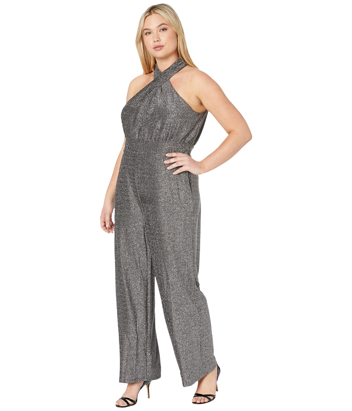 Plus Size Twist Halter Neck Jumpsuit