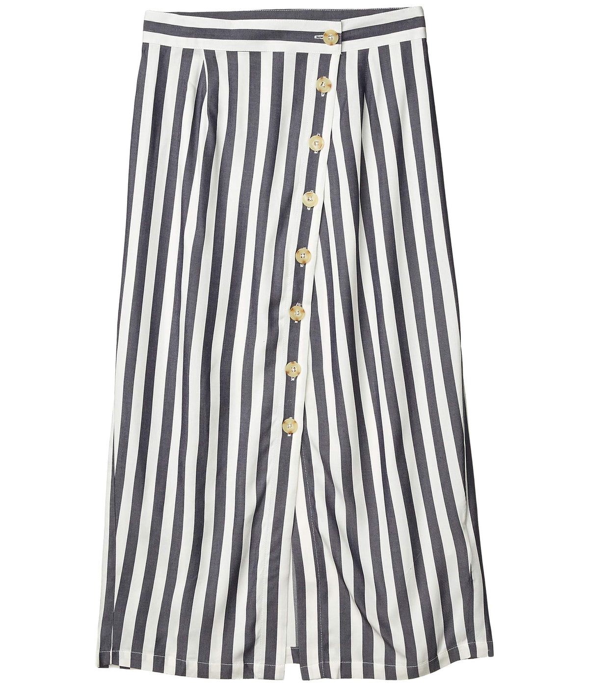 With A Twist Yarn-Dyed Rayon Stripe Midi Skirt