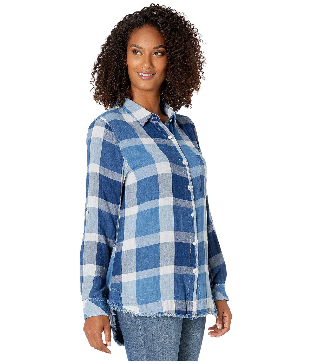 Double Weave Cotton Yarns Mick Plaid Long Sleeve Shirt