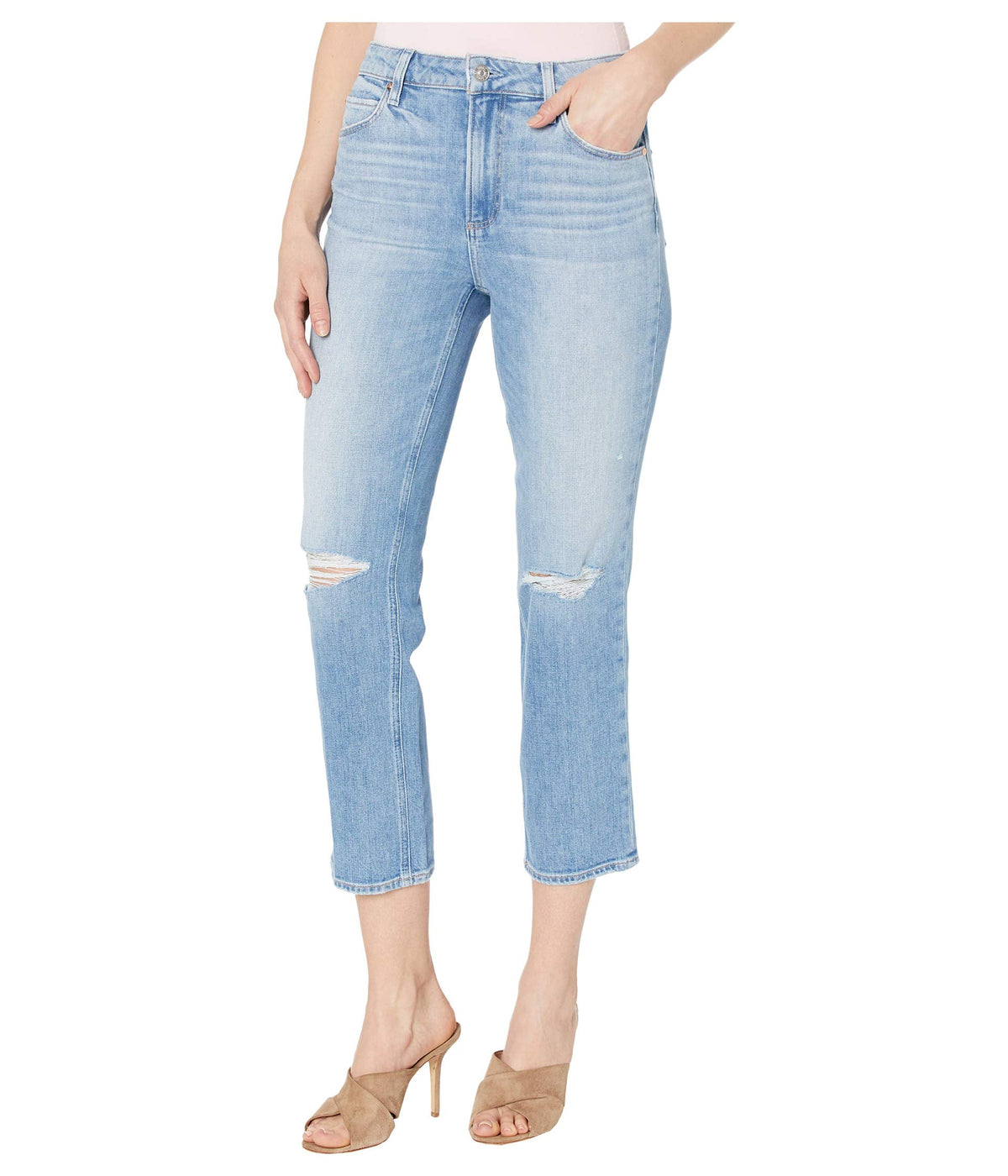 Sarah Straight Ankle Jeans in Solera Destructed