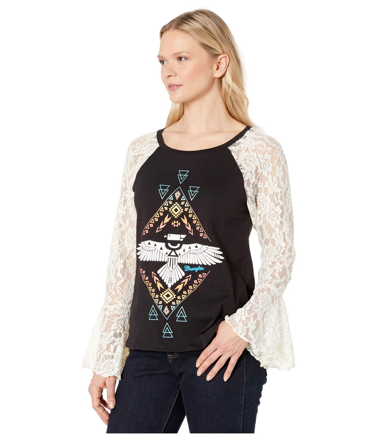 Western Knit with Graphic and Lace