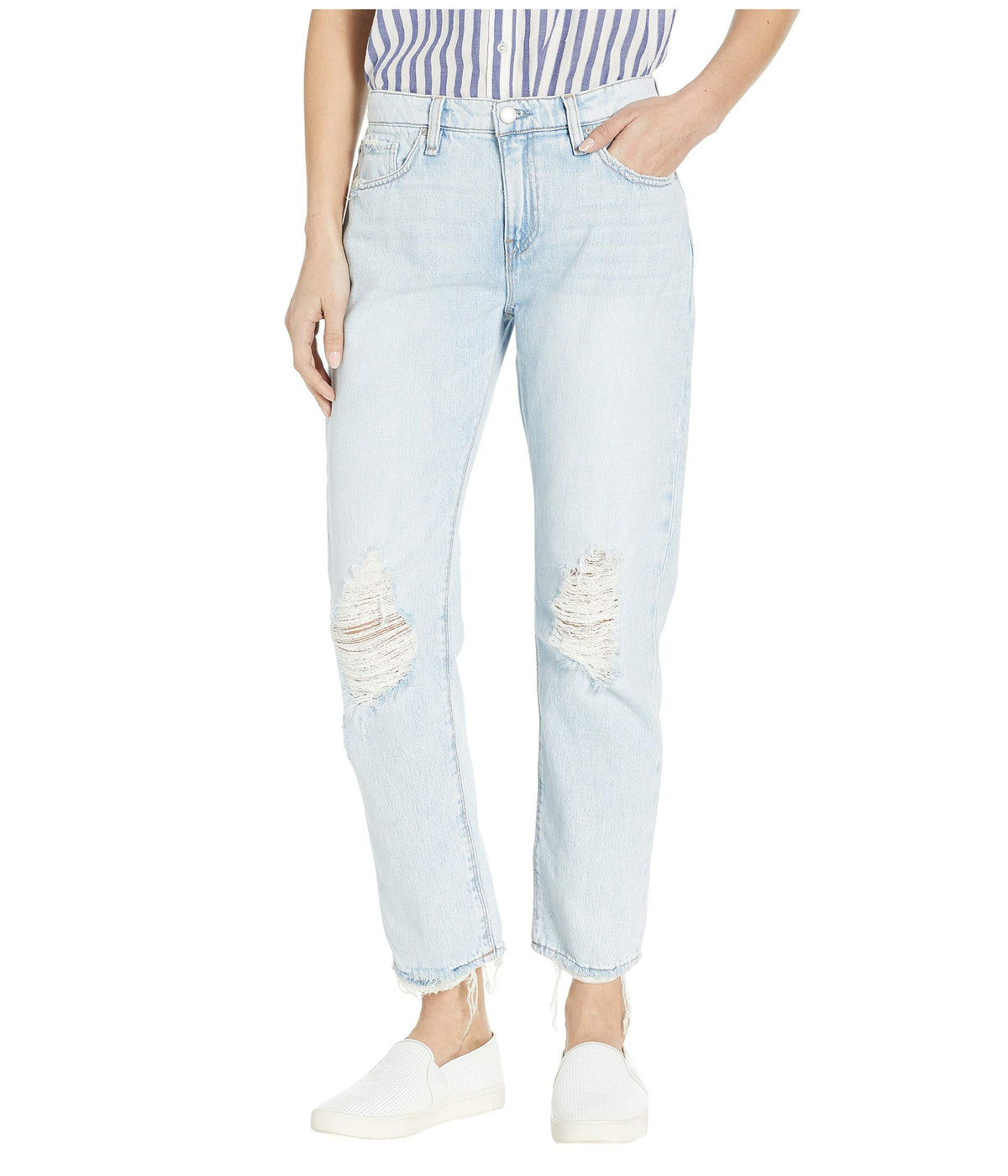 Jessi Relaxed Cropped Boyfriend Five-Pocket Jeans in Save Tonight