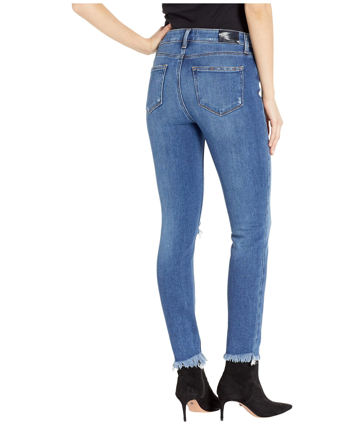 Hoxton Ankle Jeans w/ Heavy Fray Hem in Alessio Destructed