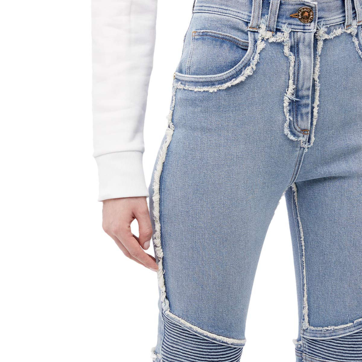 High-Waist Frayed Patchwork Skinny Jeans