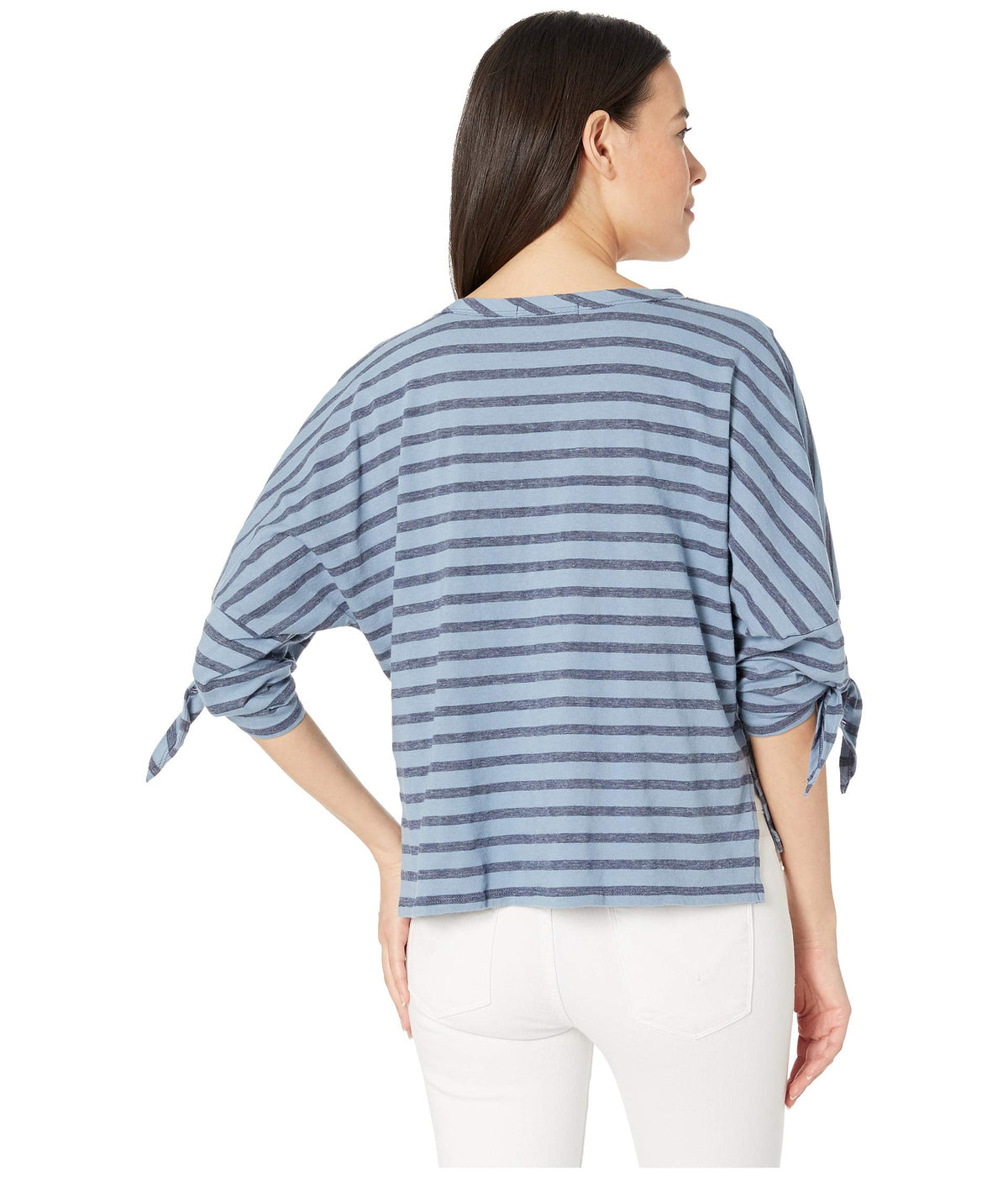 Boxy Tee with 3/4 Tie Sleeves in Two-Color Stripe