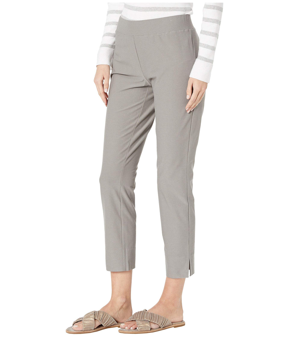 Washable Stretch Crepe Slim Cropped Pants w/ Side Slits