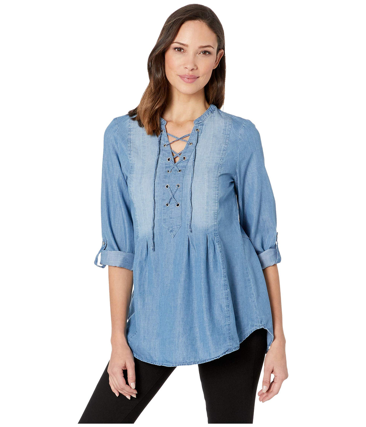 Lace-Up Top w/ Roll Tab Sleeves