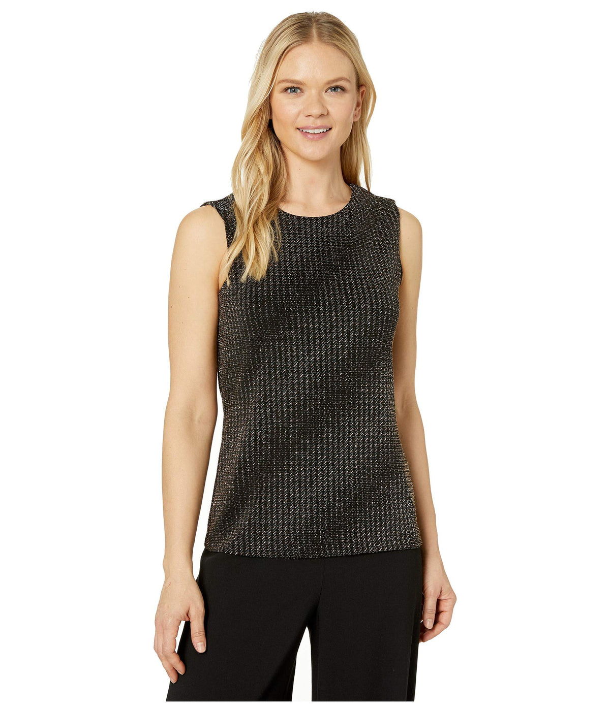 Sleeveless Gold Textured Knit Top