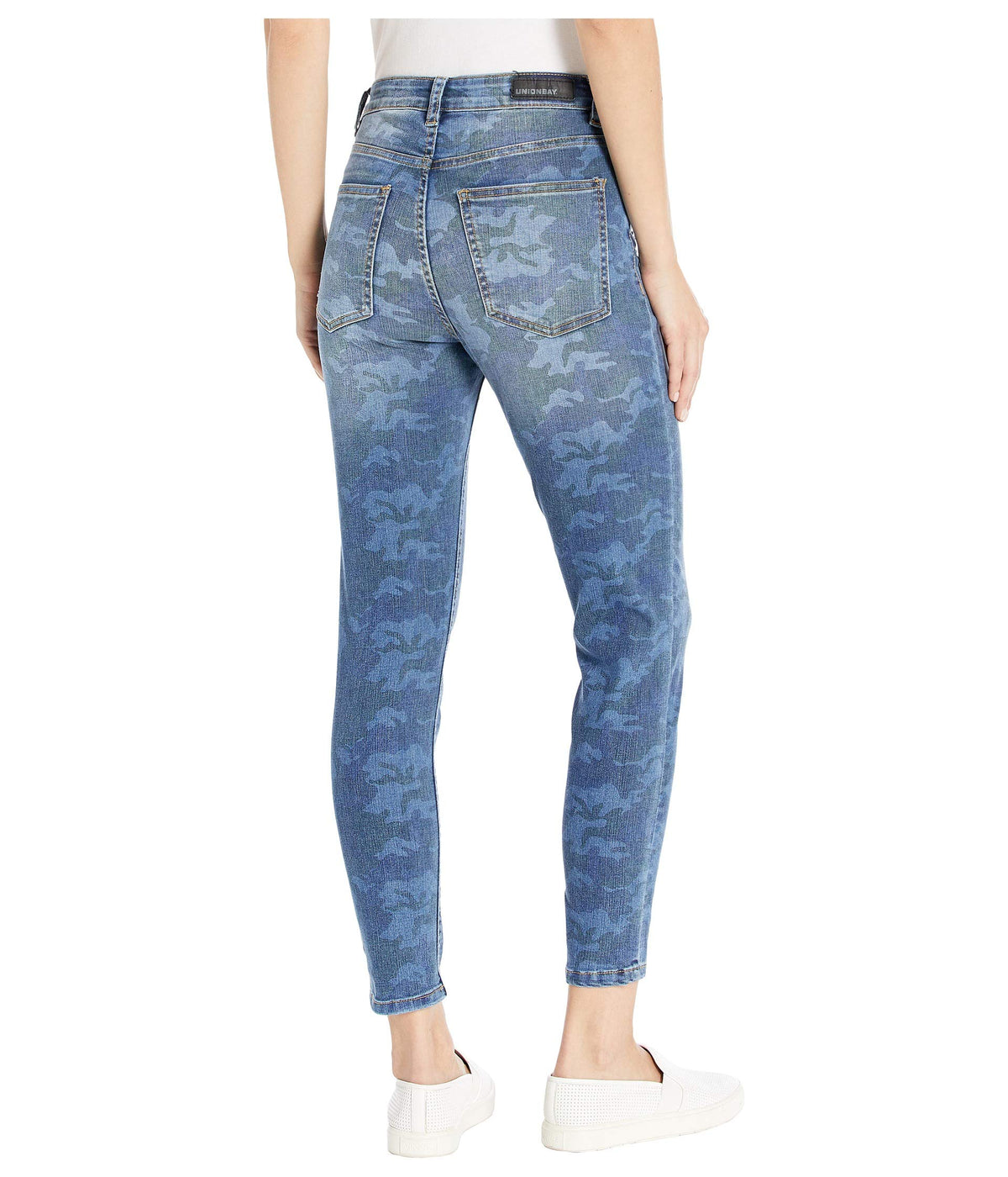 Zadie Exposed Button Camo High-Rise Jeans in Mid Blue