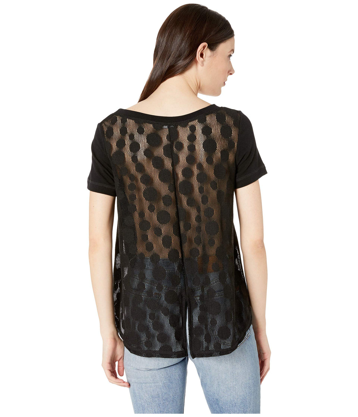 Lace Back Short Sleeve Top