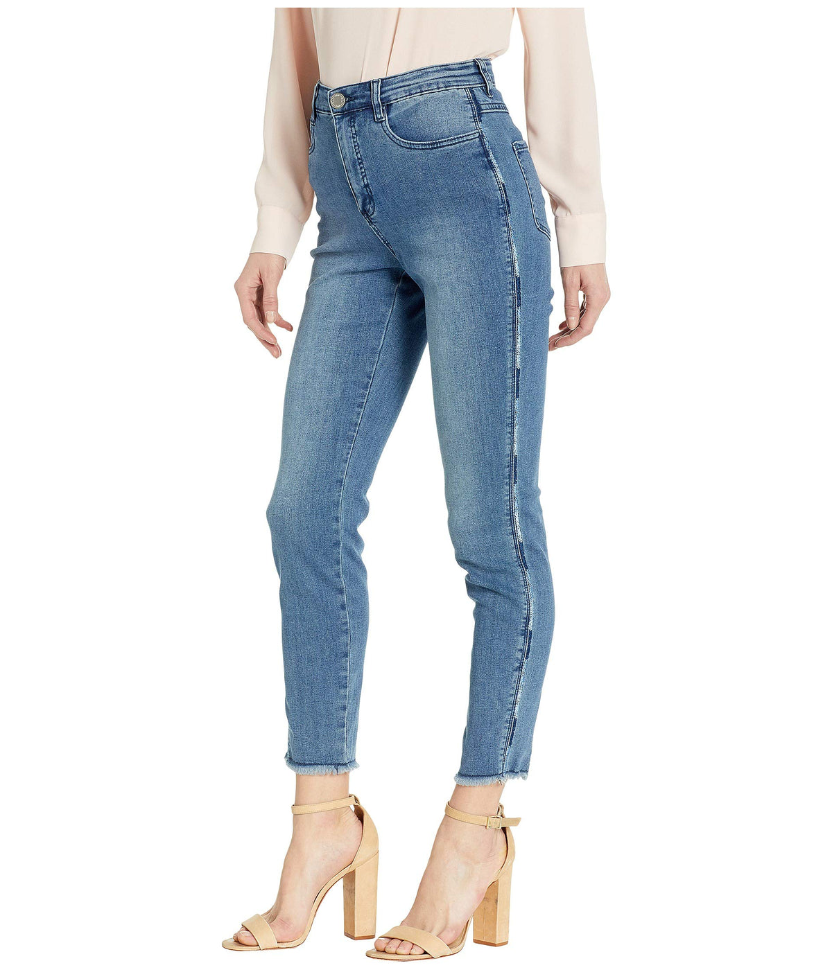 Statement Denim Ombre Side Seam with Embroidery Suzanne Slim Ankle in Indigo