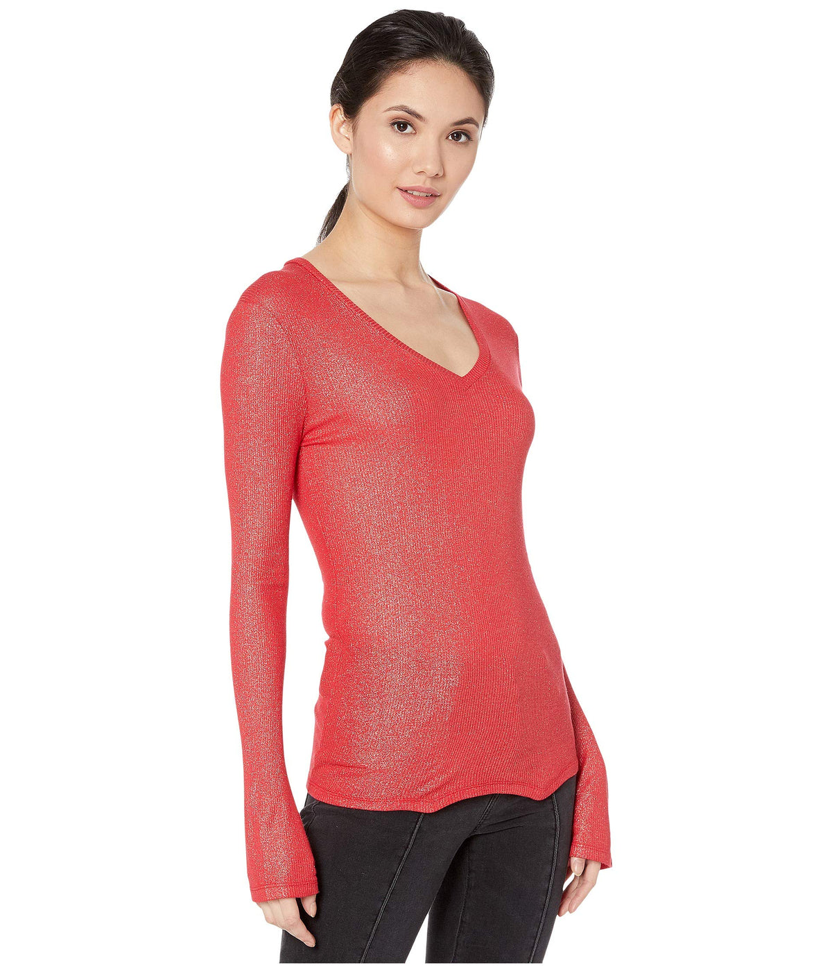 Metallic Ribbed Long Sleeve V-Neck Tee