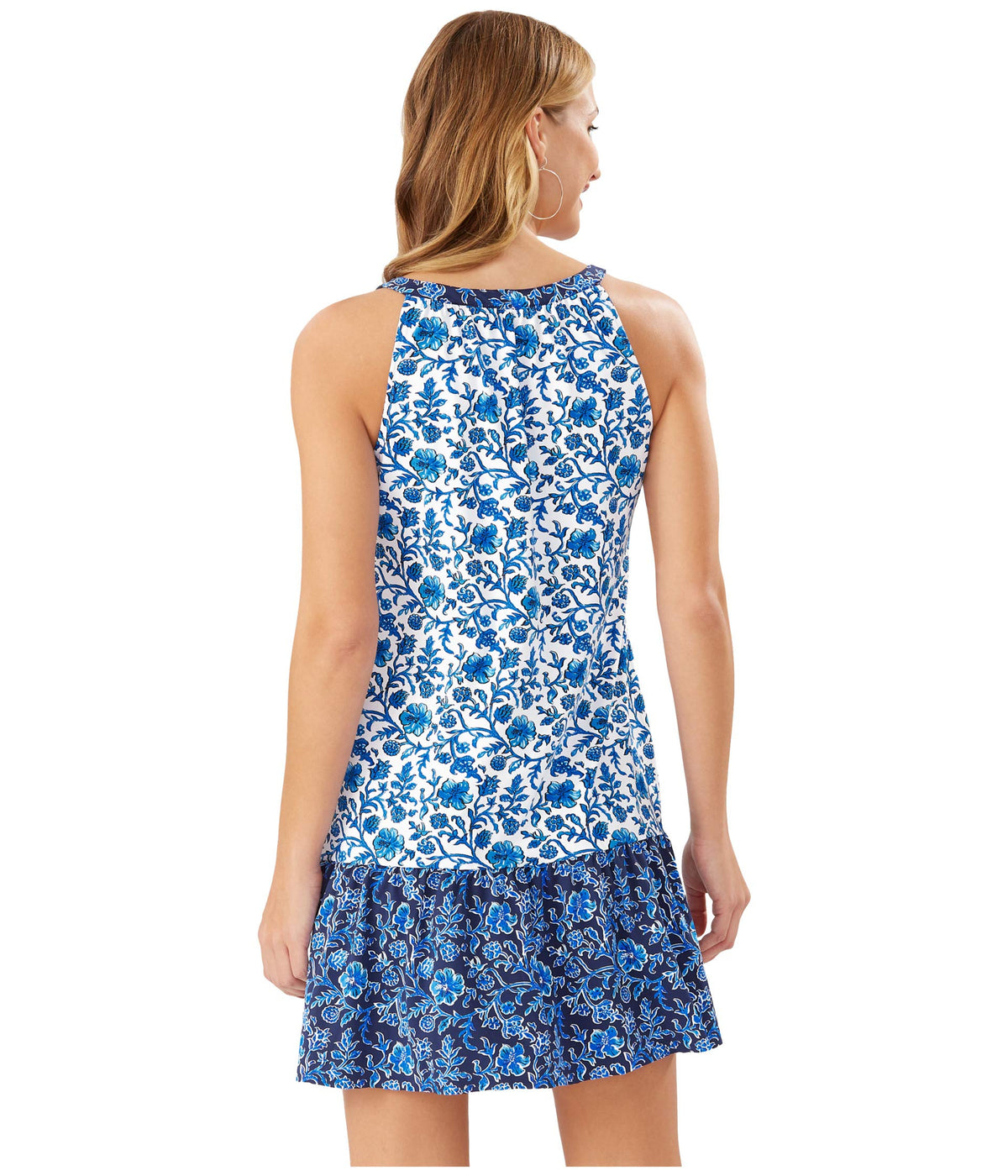 Woodblock Split-Neck Ruffle Spa Dress