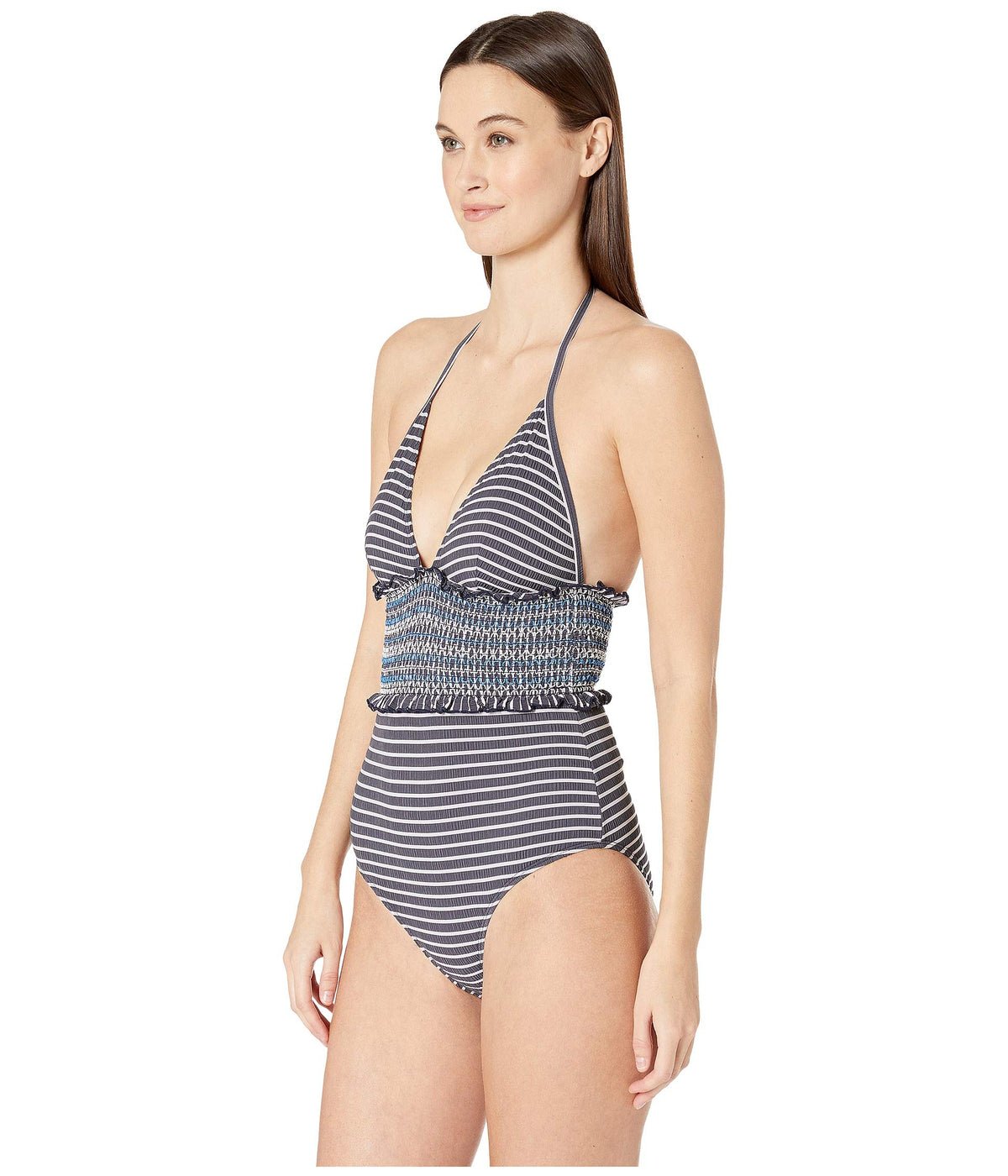 Striped Smocked Halter One-Piece