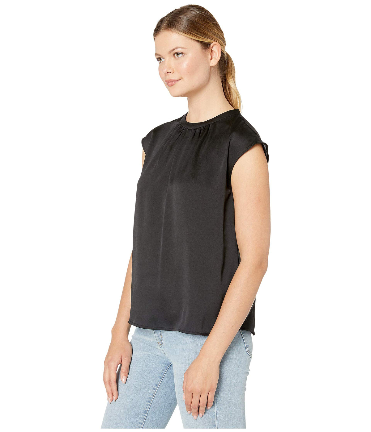 Extend Shoulder Hammer Satin Mock Neck Blouse