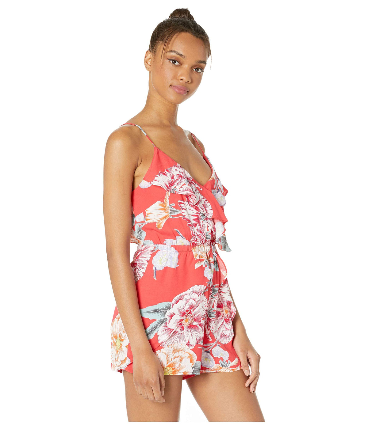 Astra Printed Crepe Romper with Ruffle Details